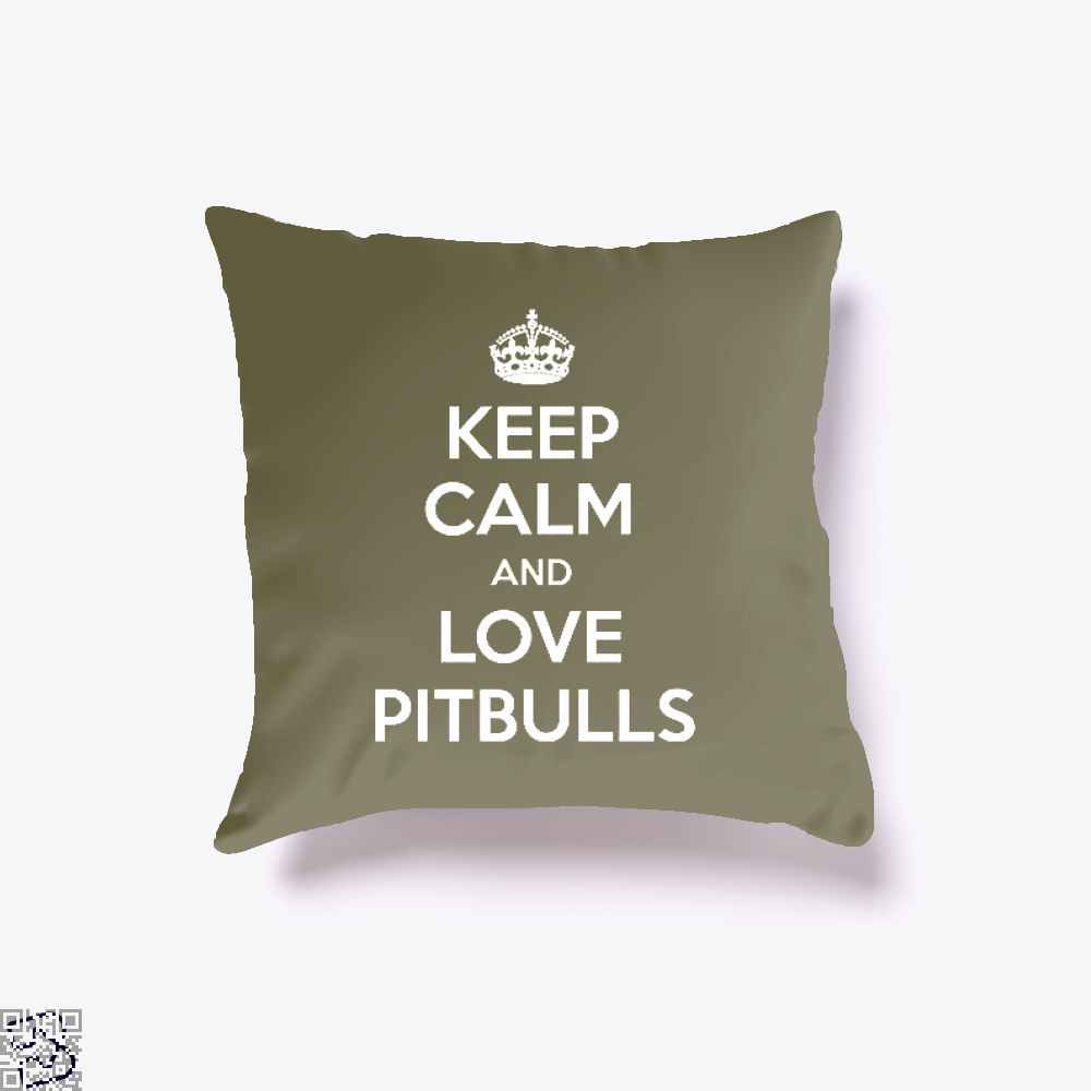Keep Calm And Love Pitbull Throw Pillow Cover - Brown / 16 X - Productgenjpg