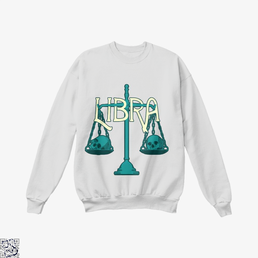 Libra Scales And Skulls Zodiac Astrology Crew Neck Sweatshirt - White / X-Small - Productgenapi