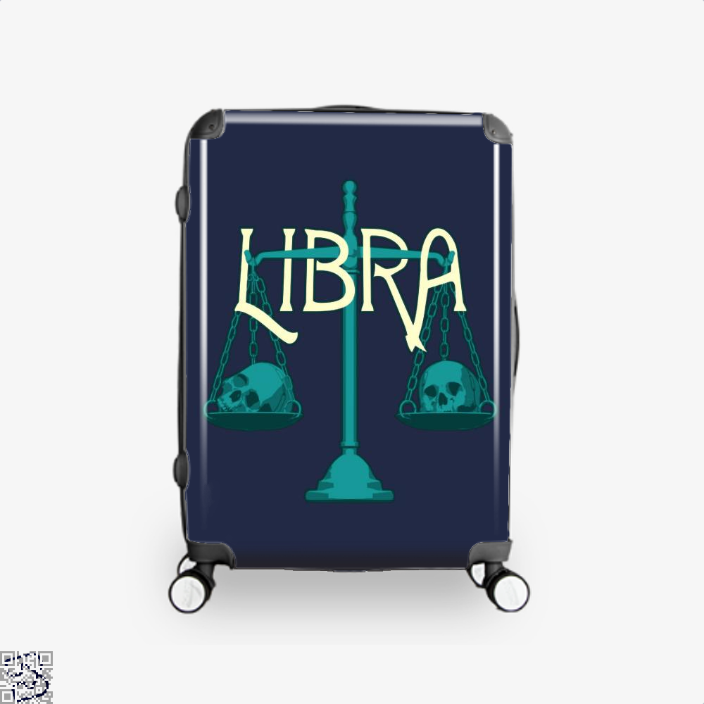 Libra Scales And Skulls Zodiac Astrology Suitcase - Blue / 16 - Productgenapi