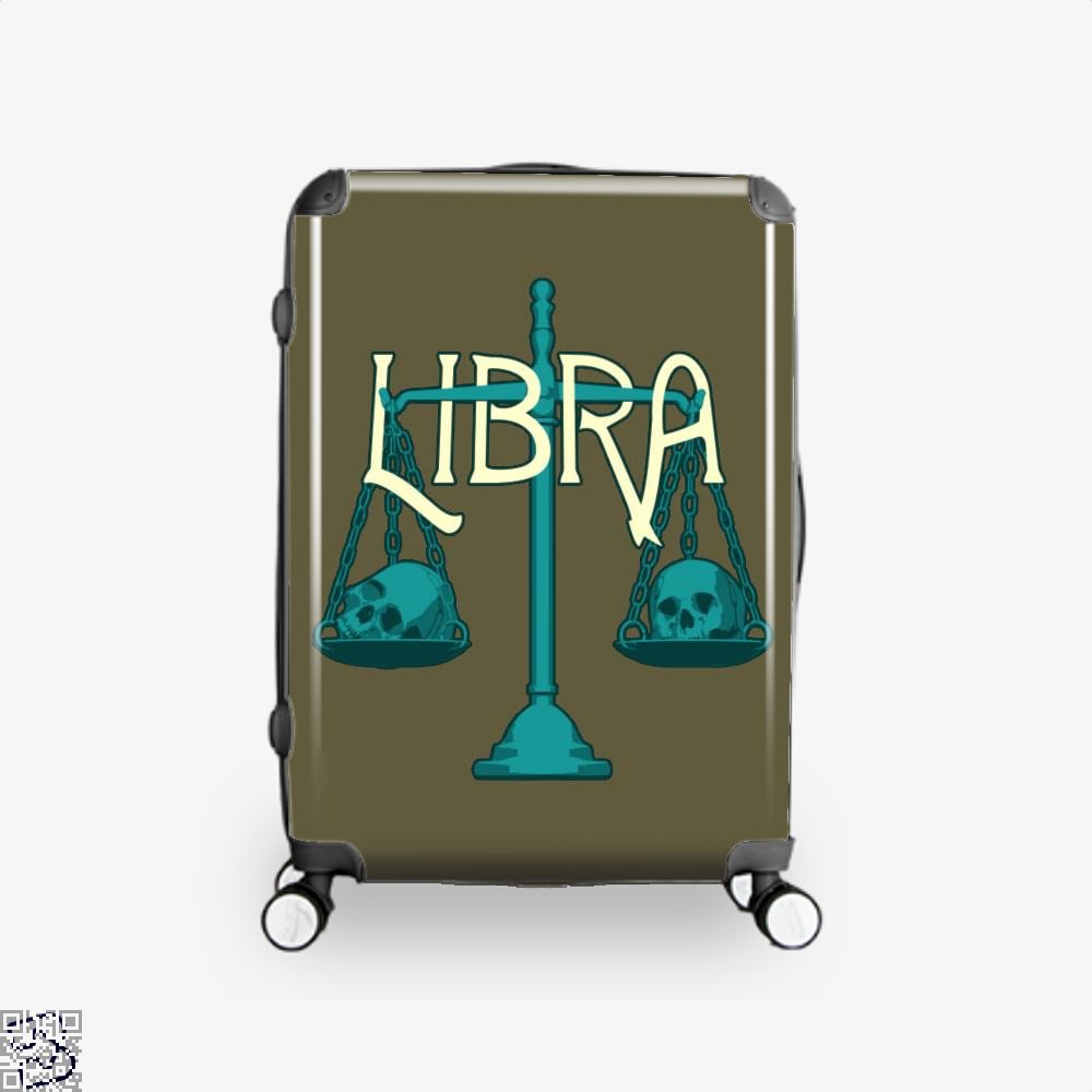 Libra Scales And Skulls Zodiac Astrology Suitcase - Brown / 16 - Productgenapi