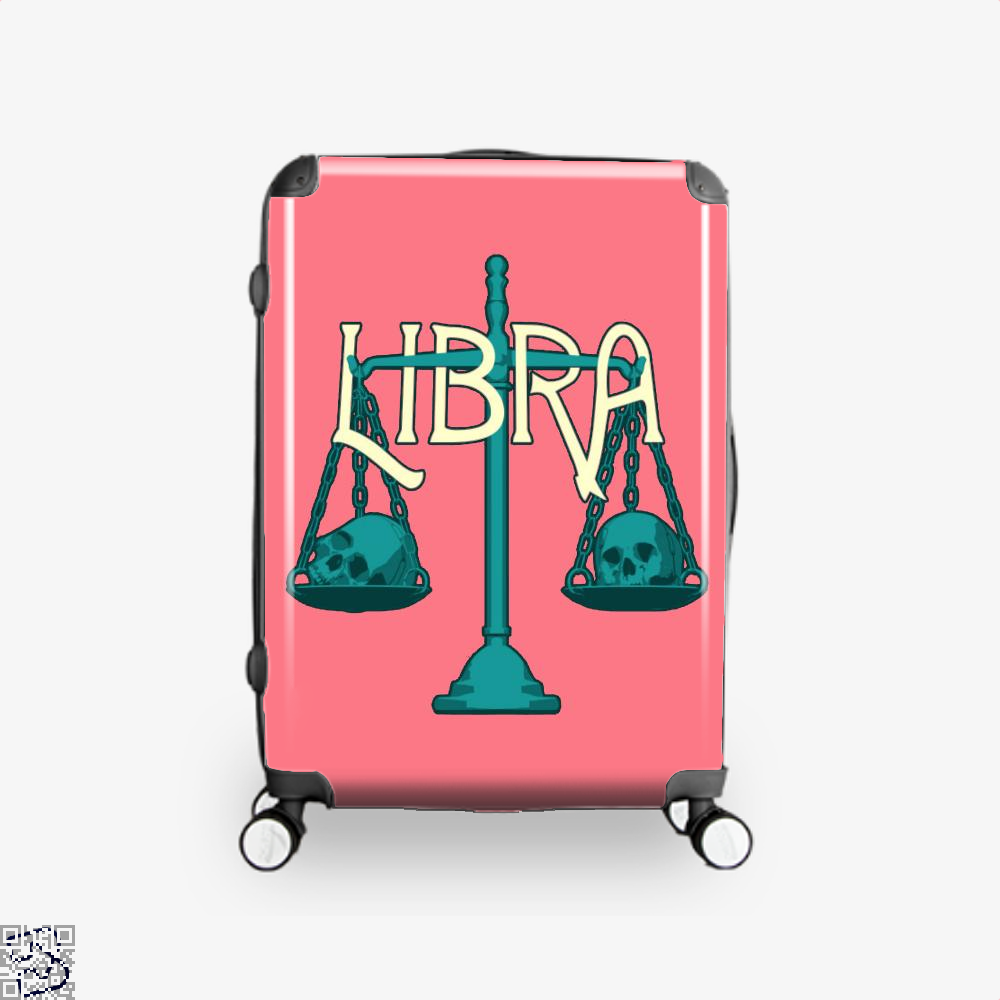 Libra Scales And Skulls Zodiac Astrology Suitcase - Pink / 16 - Productgenapi