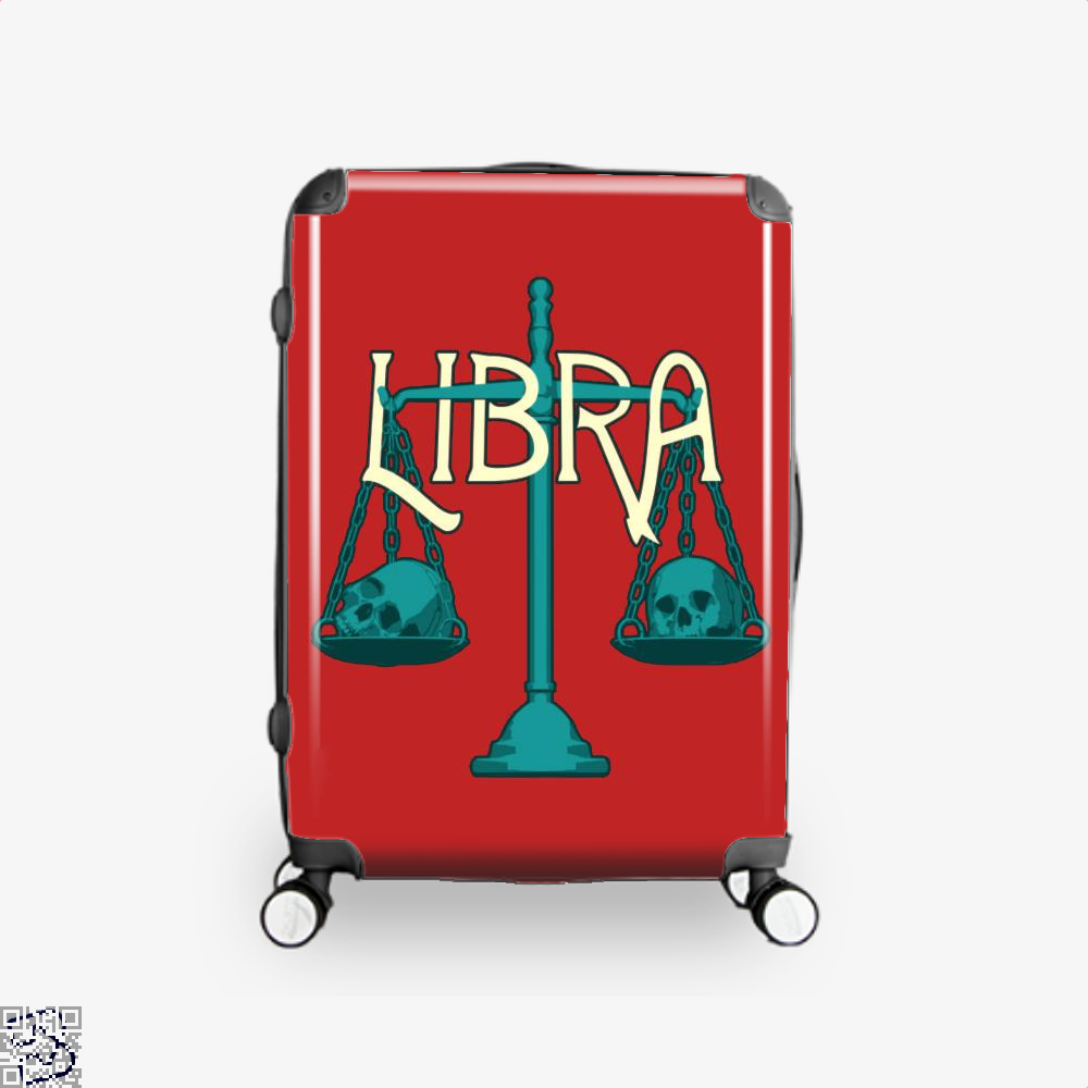 Libra Scales And Skulls Zodiac Astrology Suitcase - Red / 16 - Productgenapi