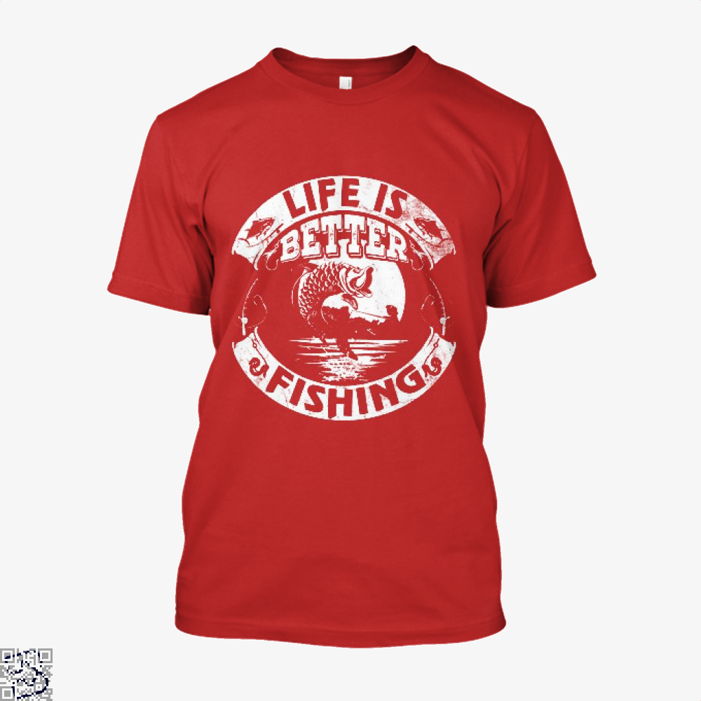 Life Is Better Fishing Shirt - Men / Red / X-Small - Productgenjpg