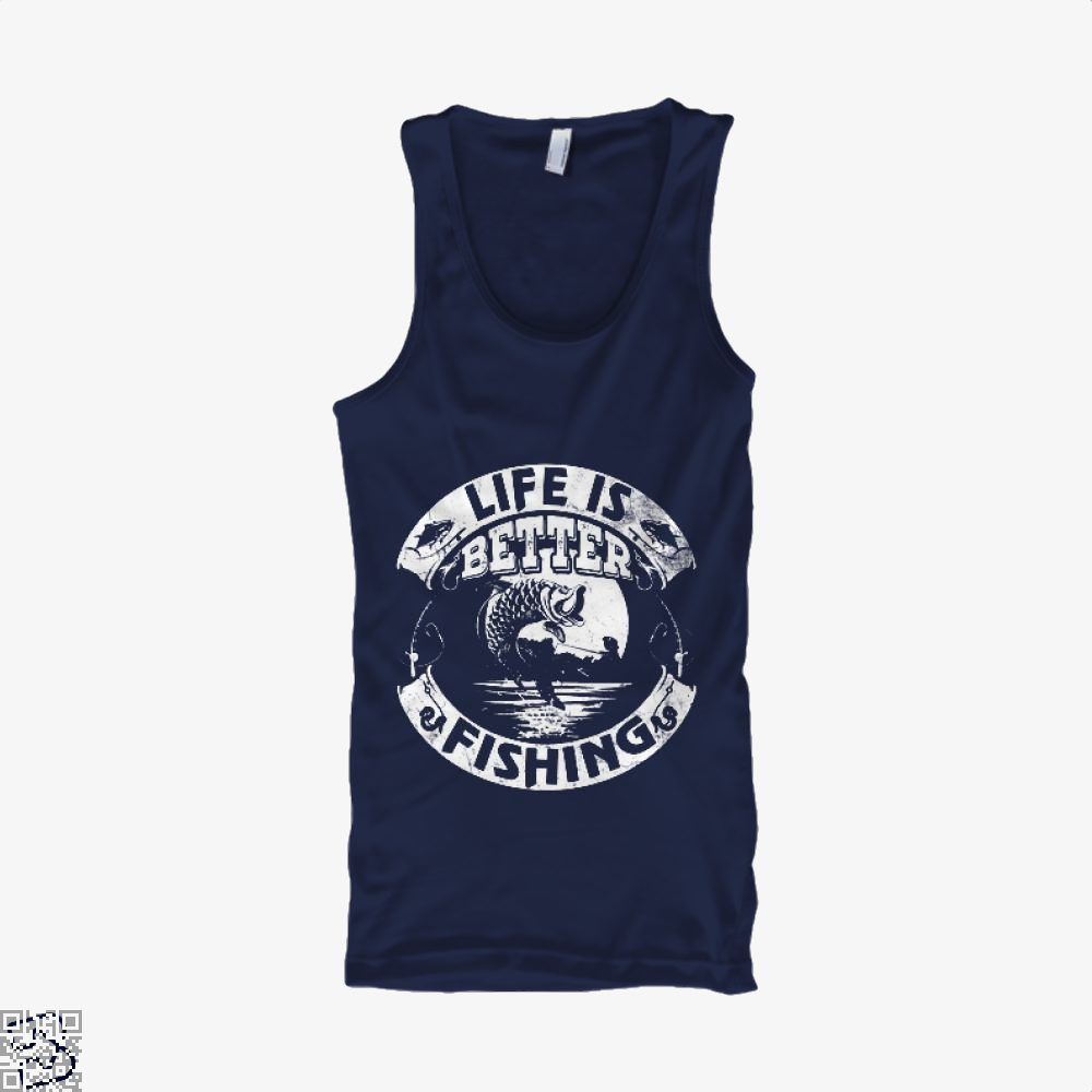 Life Is Better Fishing Tank Top - Men / Blue / X-Small - Productgenjpg