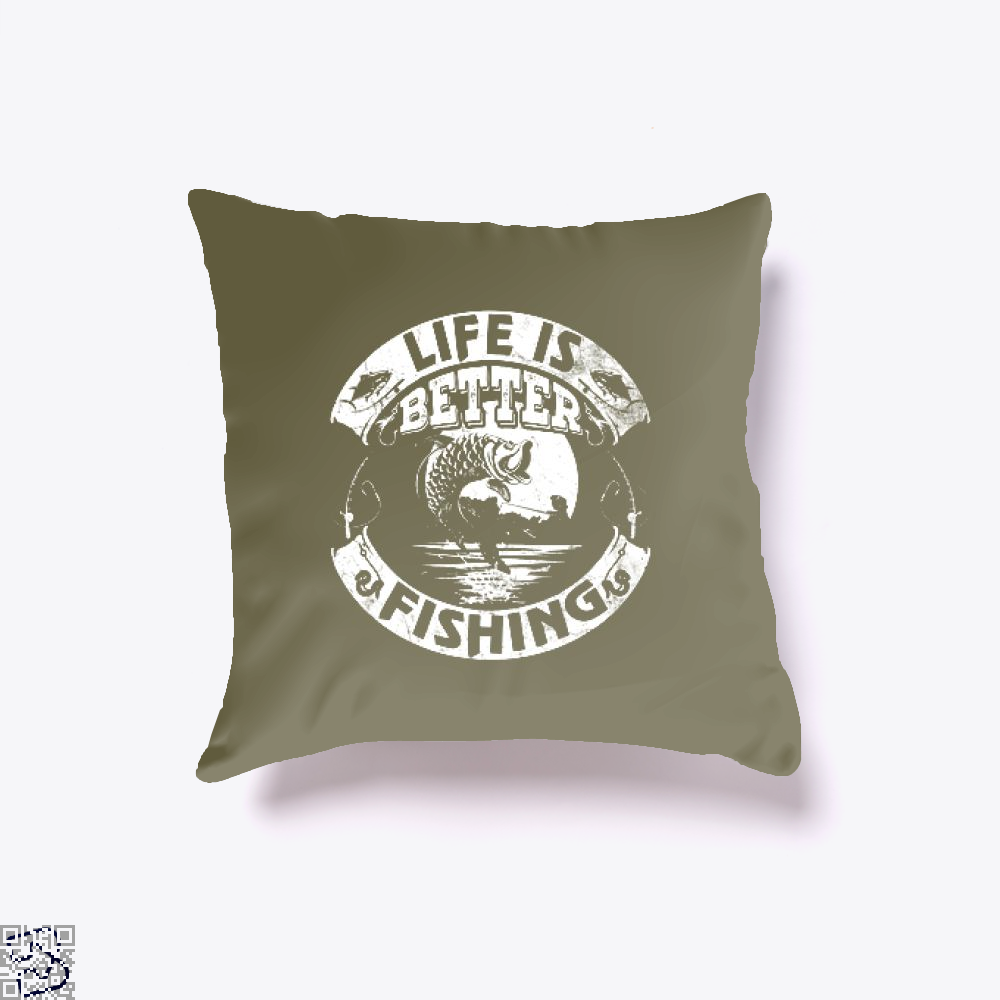 Life Is Better Fishing Throw Pillow Cover - Brown / 16 X - Productgenjpg