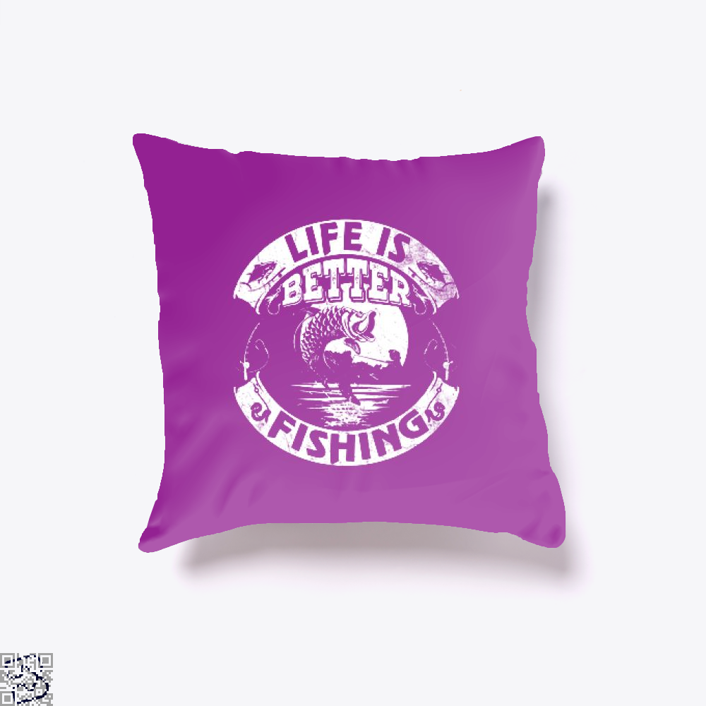 Life Is Better Fishing Throw Pillow Cover - Purple / 16 X - Productgenjpg
