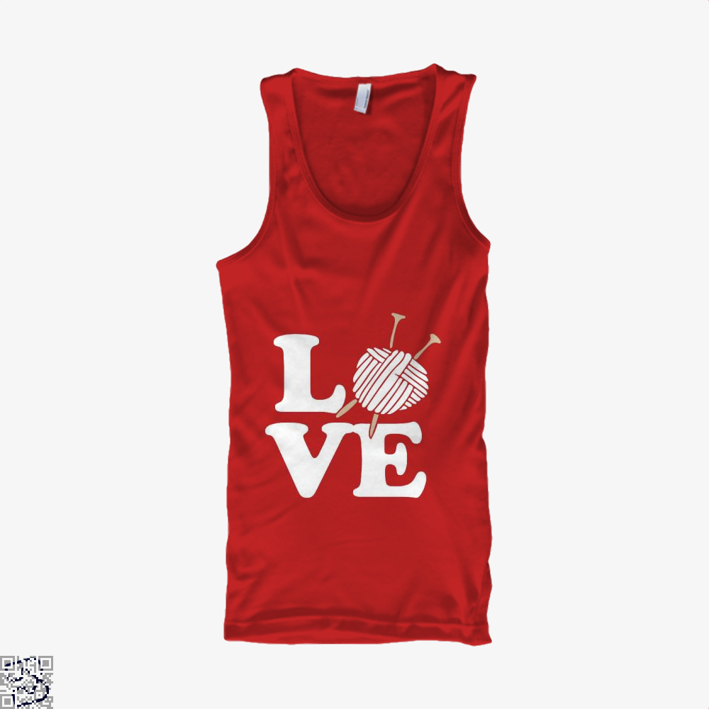 Love Knitting And Crochet Sewing Tank Top - Women / Red / X-Small - Productgenjpg