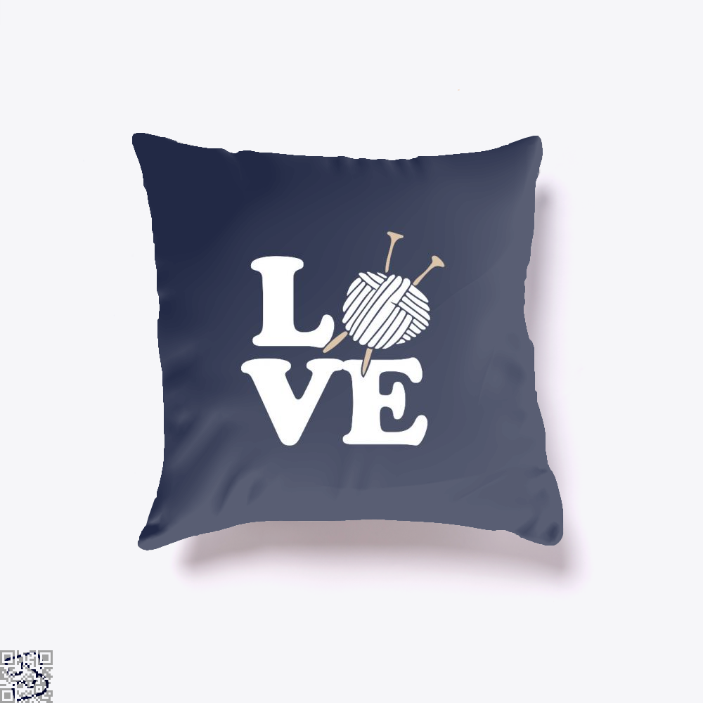 Love Knitting And Crochet Sewing Throw Pillow Cover - Blue / 16 X - Productgenjpg