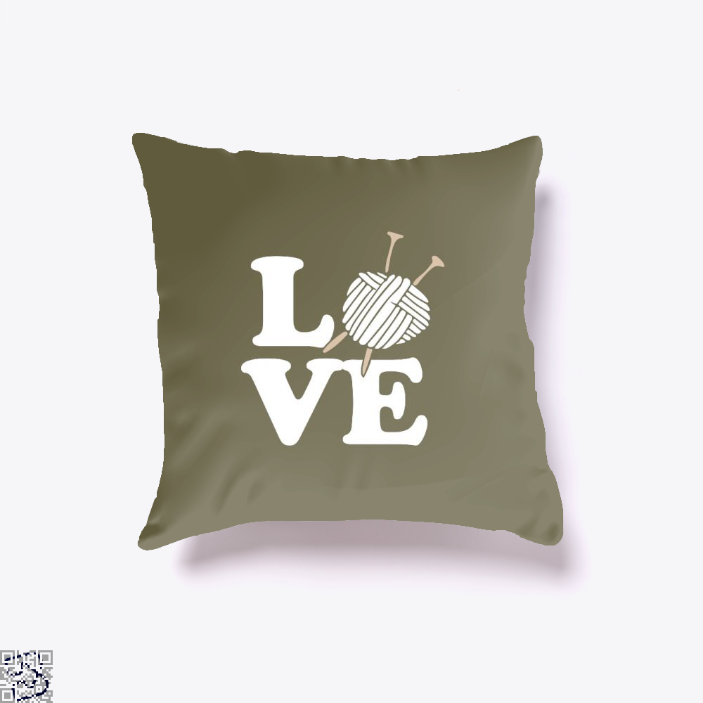 Love Knitting And Crochet Sewing Throw Pillow Cover - Brown / 16 X - Productgenjpg