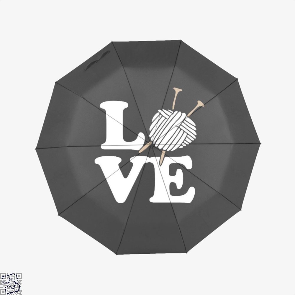 Love Knitting And Crochet Sewing Umbrella - Black - Productgenjpg