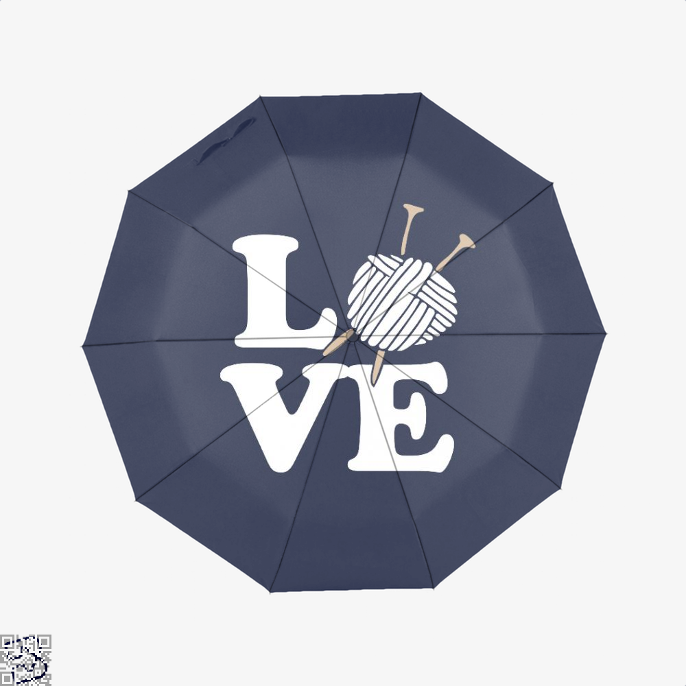 Love Knitting And Crochet Sewing Umbrella - Blue - Productgenjpg