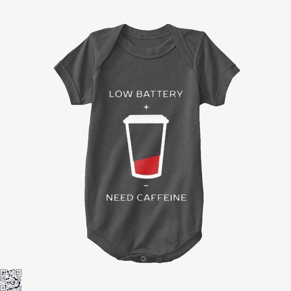 Low Battery Need Caffeine Coffee Baby Onesie - Black / 0-3 Months - Productgenapi