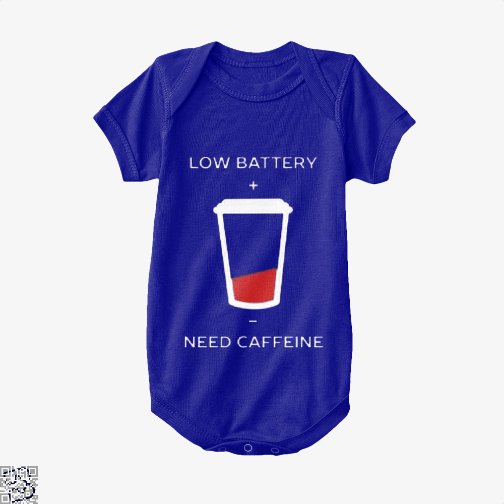 Low Battery Need Caffeine Coffee Baby Onesie - Navy / 0-3 Months - Productgenapi