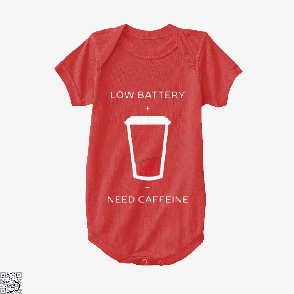 Low Battery Need Caffeine Coffee Baby Onesie - Red / 0-3 Months - Productgenapi