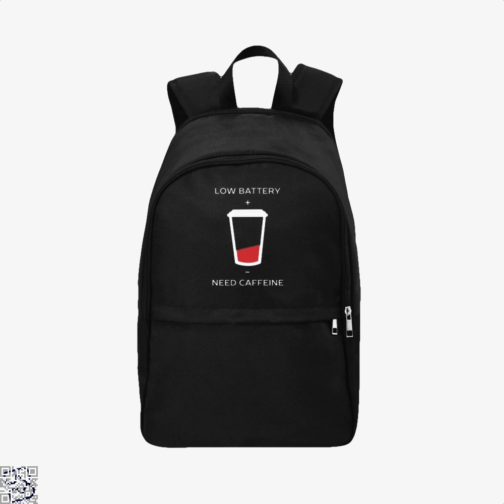 Low Battery Need Caffeine Coffee Backpack - Black / Adult - Productgenapi