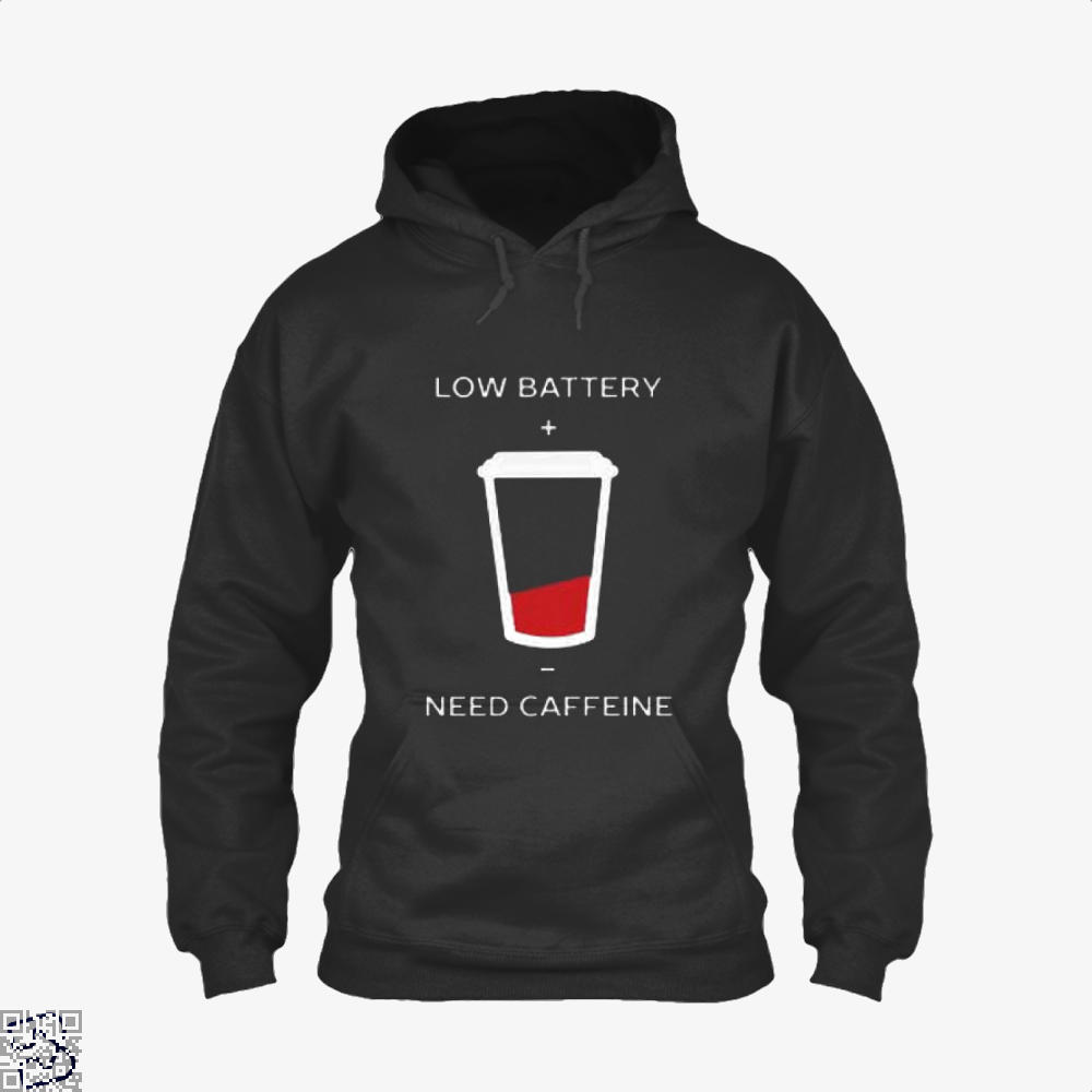 Low Battery Need Caffeine Coffee Hoodie - Black / X-Small - Productgenapi