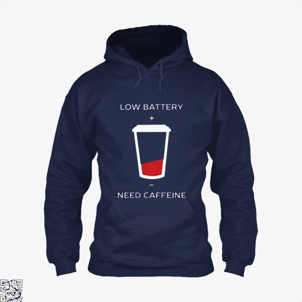 Low Battery Need Caffeine Coffee Hoodie - Blue / X-Small - Productgenapi
