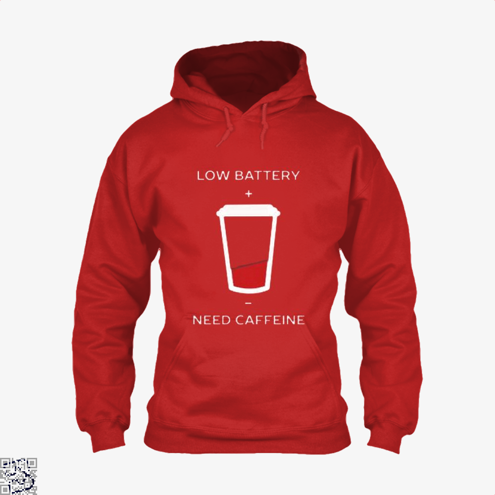 Low Battery Need Caffeine Coffee Hoodie - Red / X-Small - Productgenapi