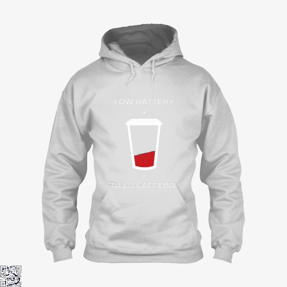 Low Battery Need Caffeine Coffee Hoodie - White / X-Small - Productgenapi