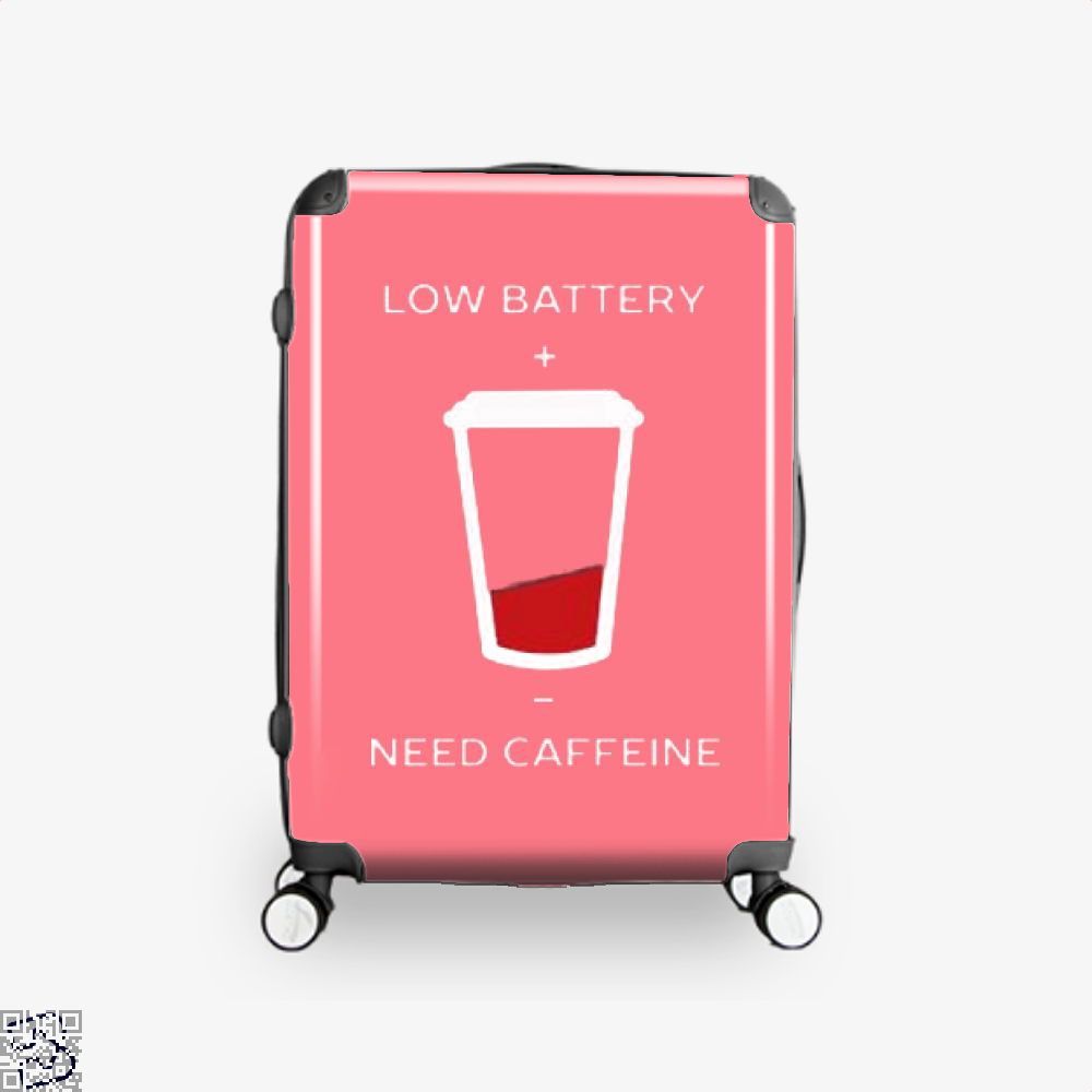 Low Battery Need Caffeine Coffee Suitcase - Pink / 16 - Productgenapi