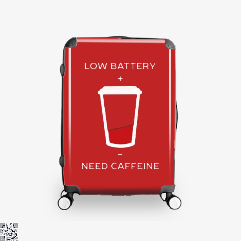 Low Battery Need Caffeine Coffee Suitcase - Red / 16 - Productgenapi