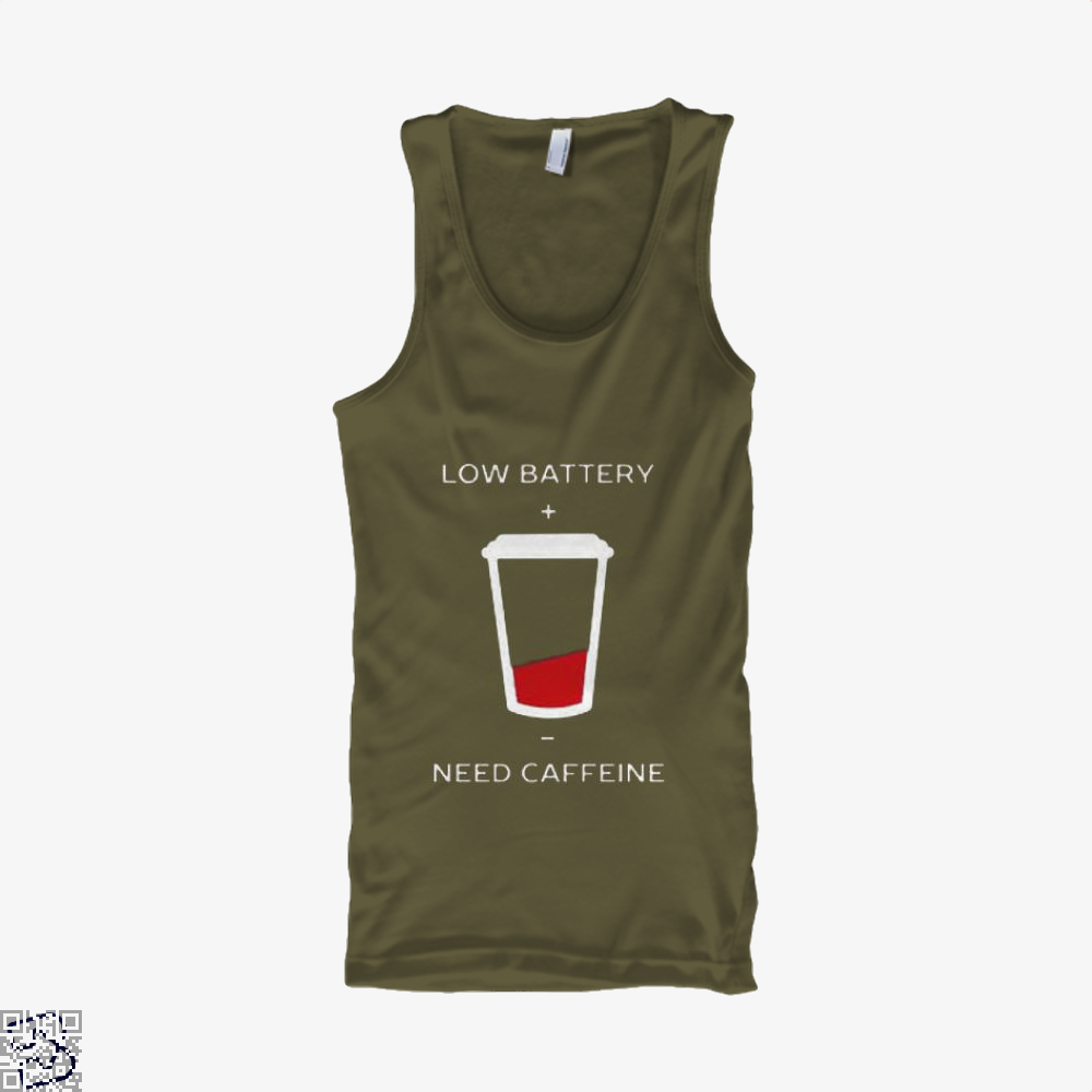 Low Battery Need Caffeine Coffee Tank Top - Men / Brown / Small - Productgenapi
