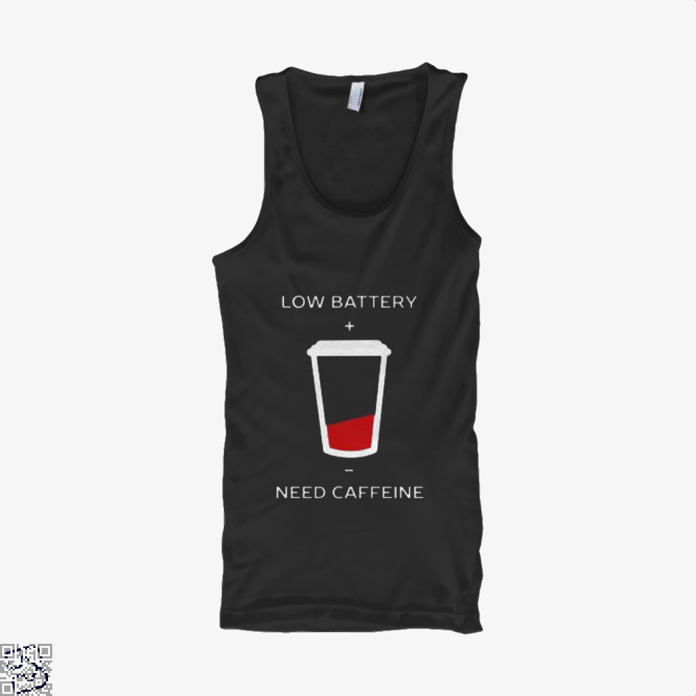 Low Battery Need Caffeine Coffee Tank Top - Women / Black / Small - Productgenapi