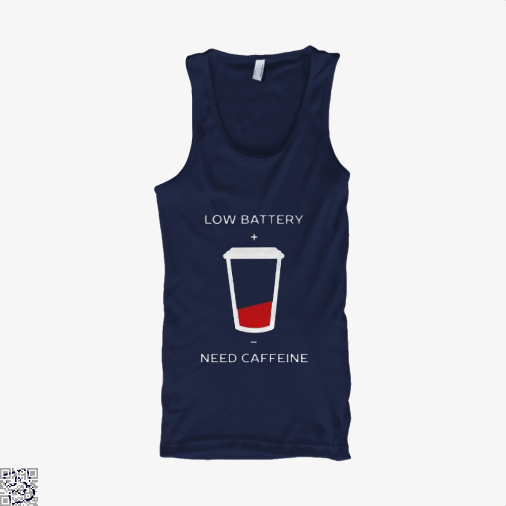 Low Battery Need Caffeine Coffee Tank Top - Women / Blue / Small - Productgenapi