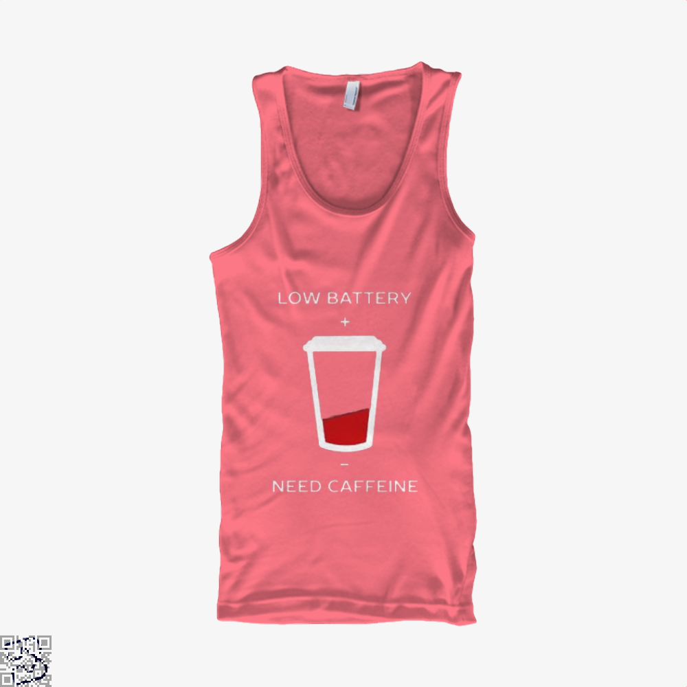 Low Battery Need Caffeine Coffee Tank Top - Women / Pink / Small - Productgenapi