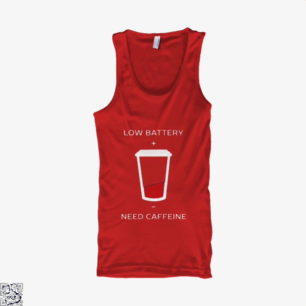 Low Battery Need Caffeine Coffee Tank Top - Women / Red / Small - Productgenapi