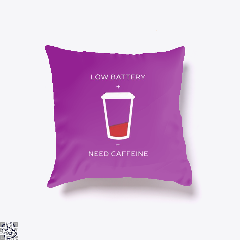 Low Battery Need Caffeine Coffee Throw Pillow Cover - Purple / 16 X - Productgenapi