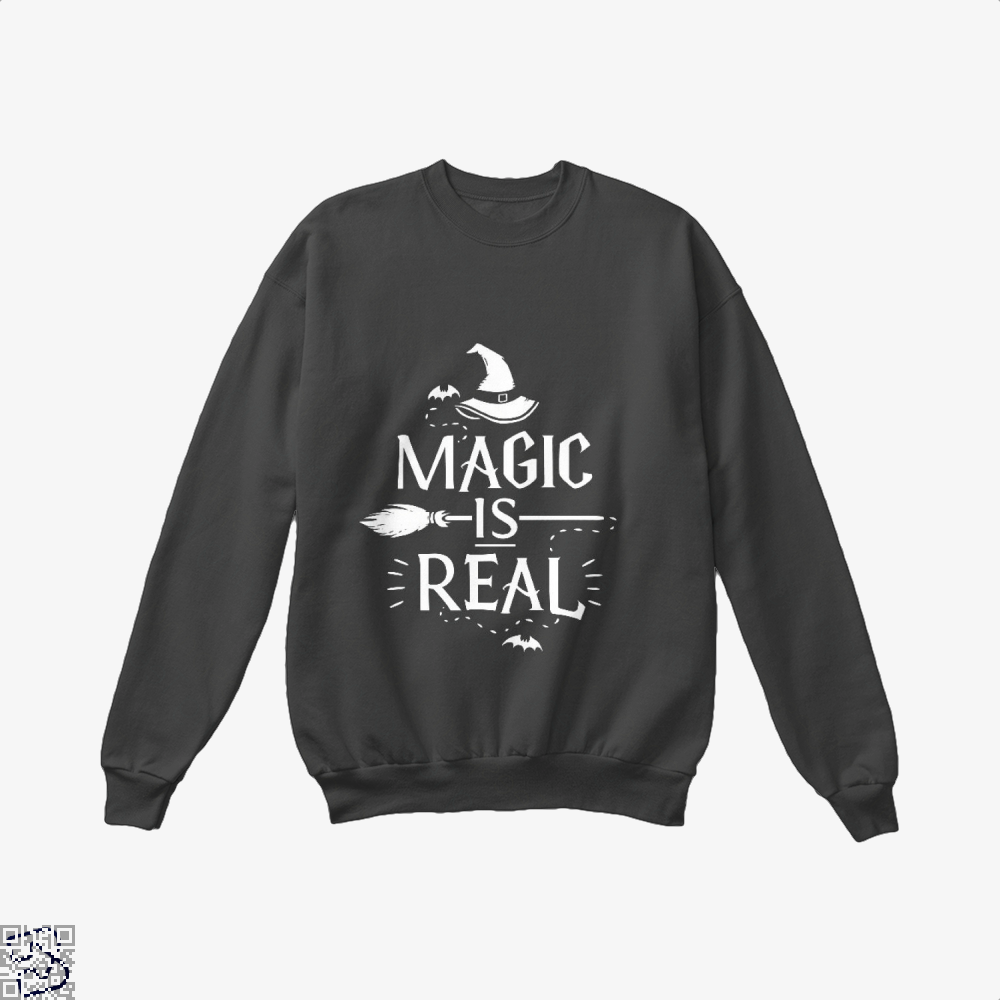Magic Is Real Halloween Witch Crew Neck Sweatshirt - Black / X-Small - Productgenjpg