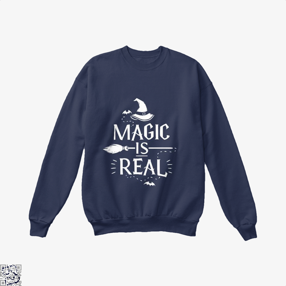 Magic Is Real Halloween Witch Crew Neck Sweatshirt - Blue / X-Small - Productgenjpg
