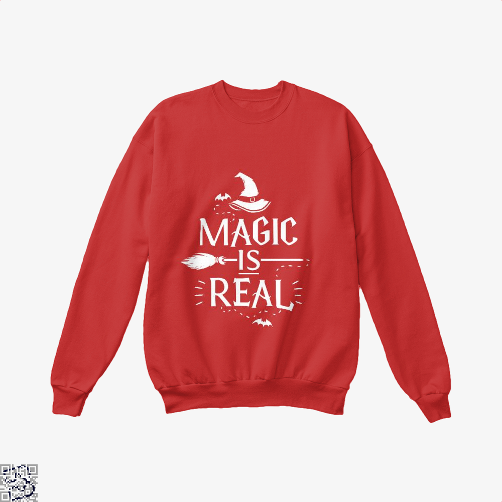Magic Is Real Halloween Witch Crew Neck Sweatshirt - Red / X-Small - Productgenjpg