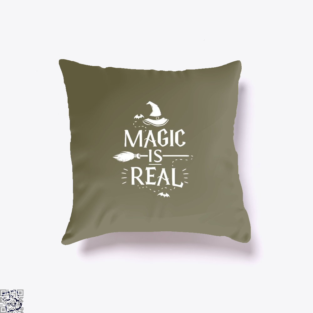 Magic Is Real Halloween Witch Throw Pillow Cover - Brown / 16 X - Productgenjpg