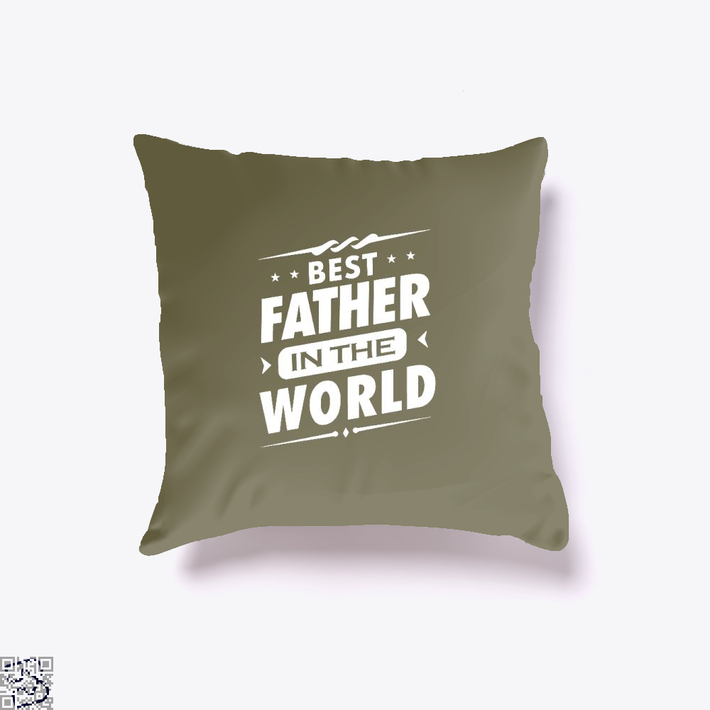 Mens Best Father In The World Fathers Day Throw Pillow Cover - Brown / 16 X - Productgenjpg