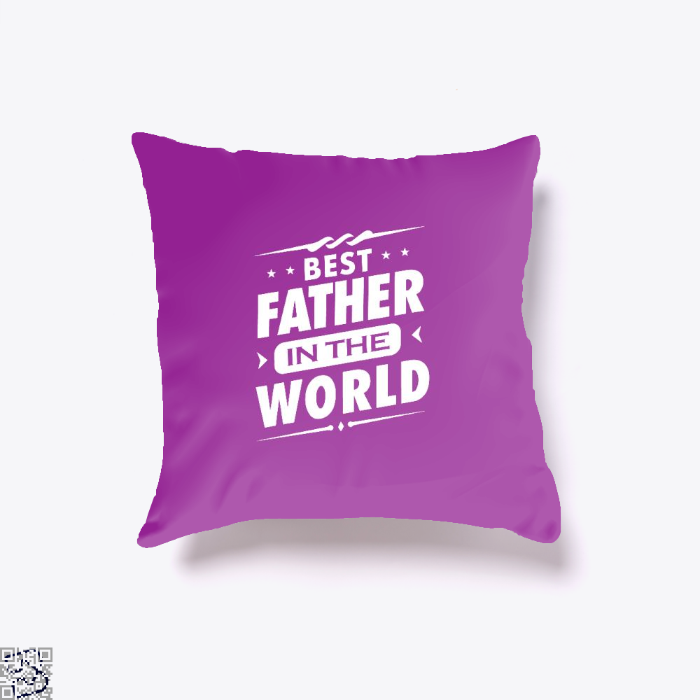 Mens Best Father In The World Fathers Day Throw Pillow Cover - Purple / 16 X - Productgenjpg