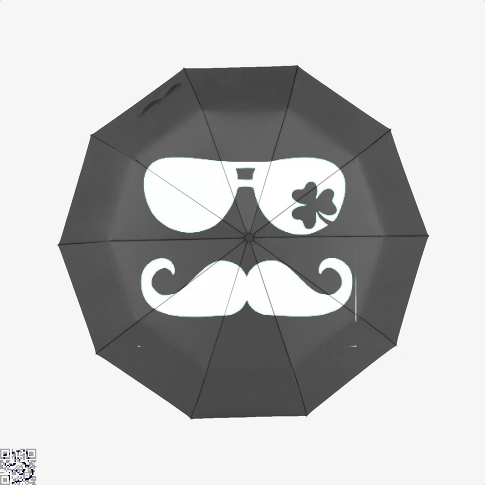 Mustache Shamrock Irish Clover Umbrella - Black - Productgenjpg