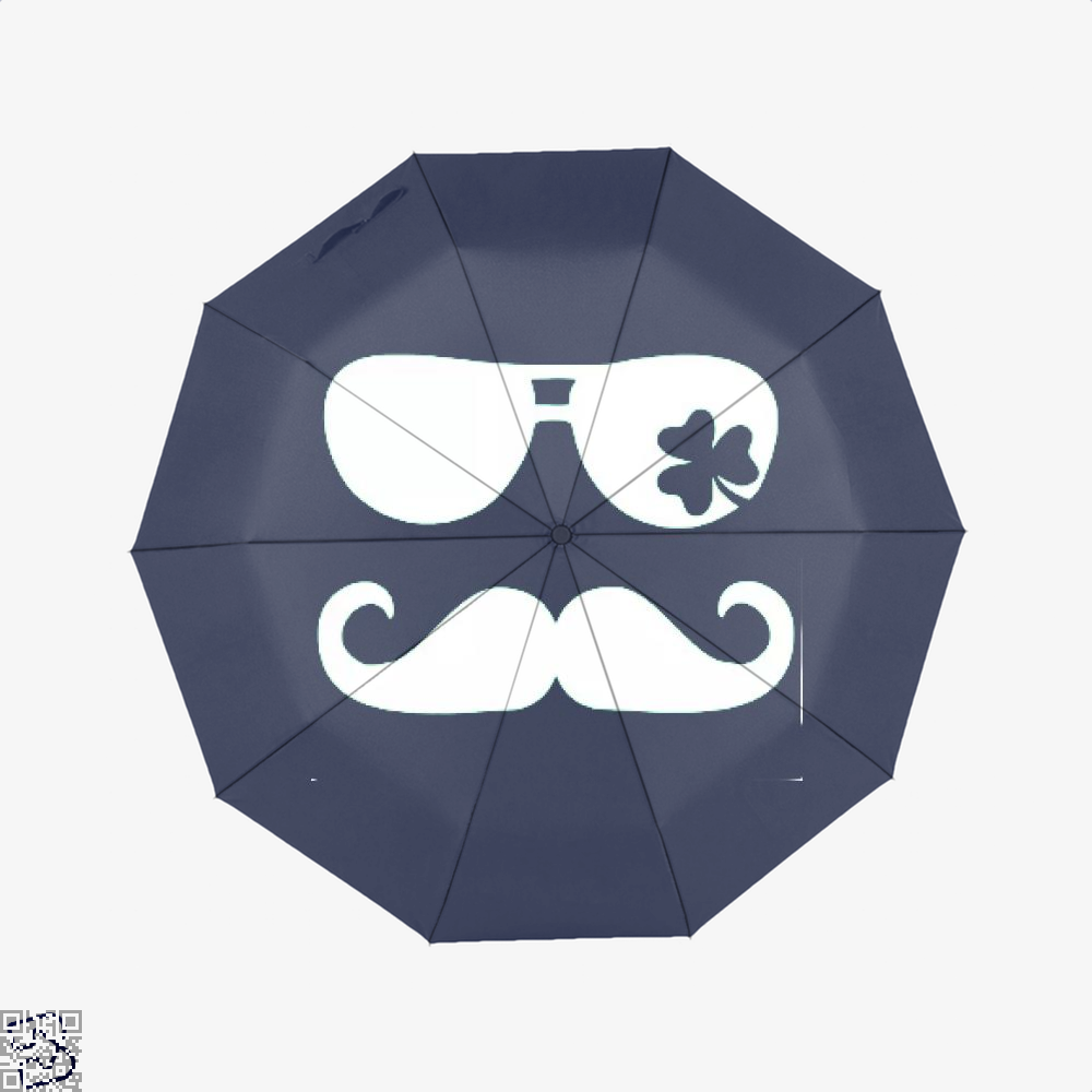 Mustache Shamrock Irish Clover Umbrella - Blue - Productgenjpg