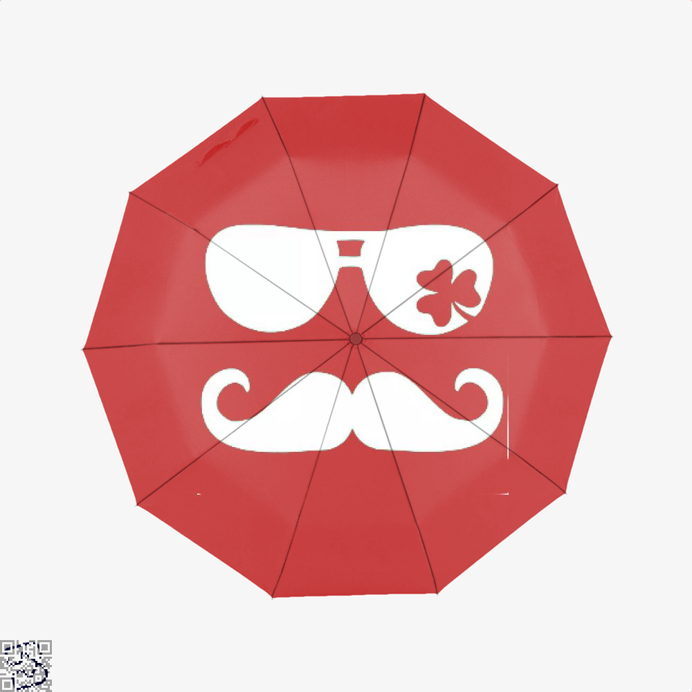 Mustache Shamrock Irish Clover Umbrella - Red - Productgenjpg