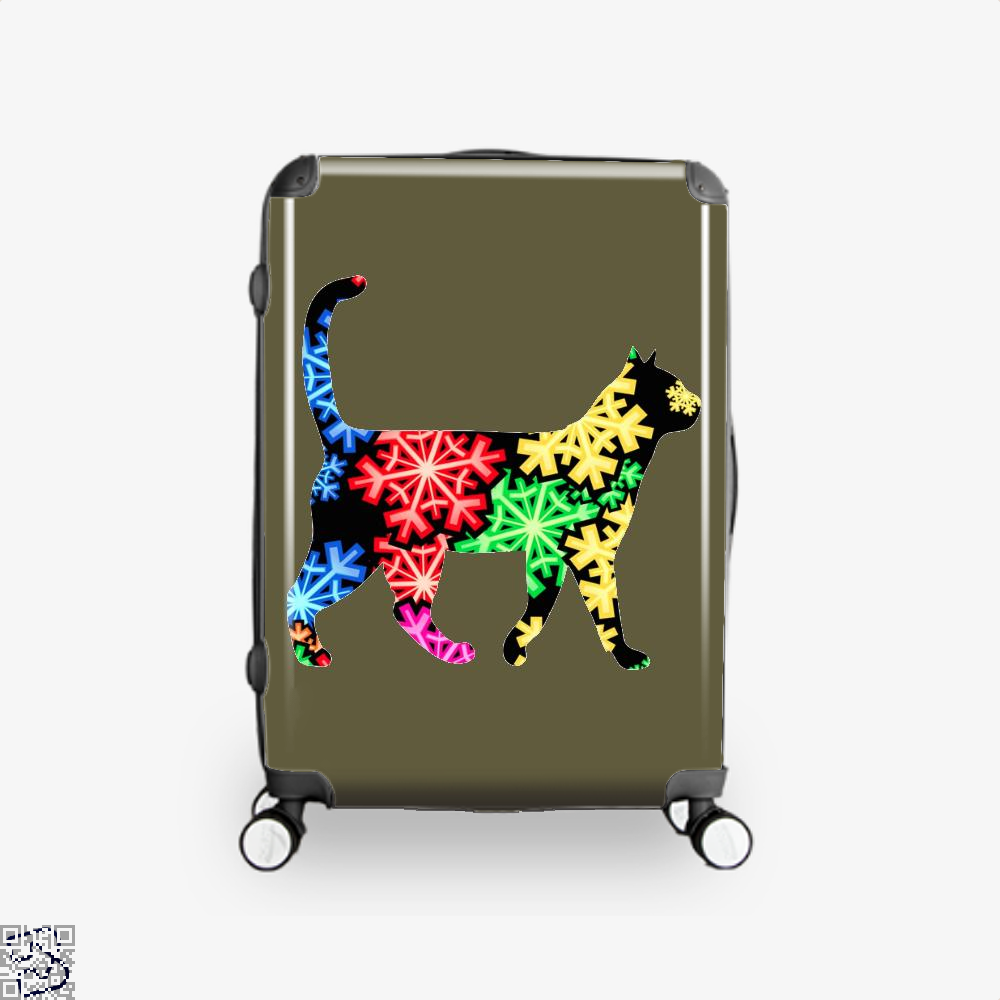 Neon Snowflake Cat Suitcase - Brown / 16 - Productgenjpg