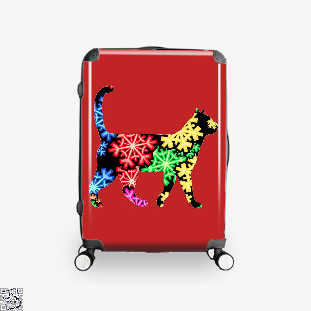 Neon Snowflake Cat Suitcase - Red / 16 - Productgenjpg