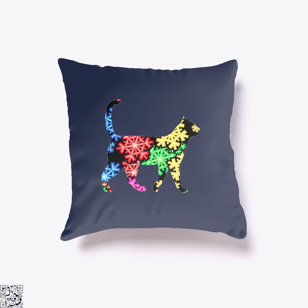 Neon Snowflake Cat Throw Pillow Cover - Blue / 16 X - Productgenjpg