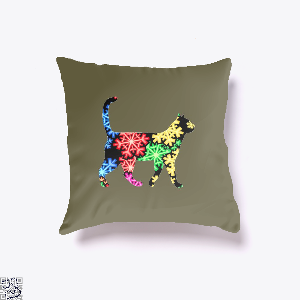 Neon Snowflake Cat Throw Pillow Cover - Brown / 16 X - Productgenjpg
