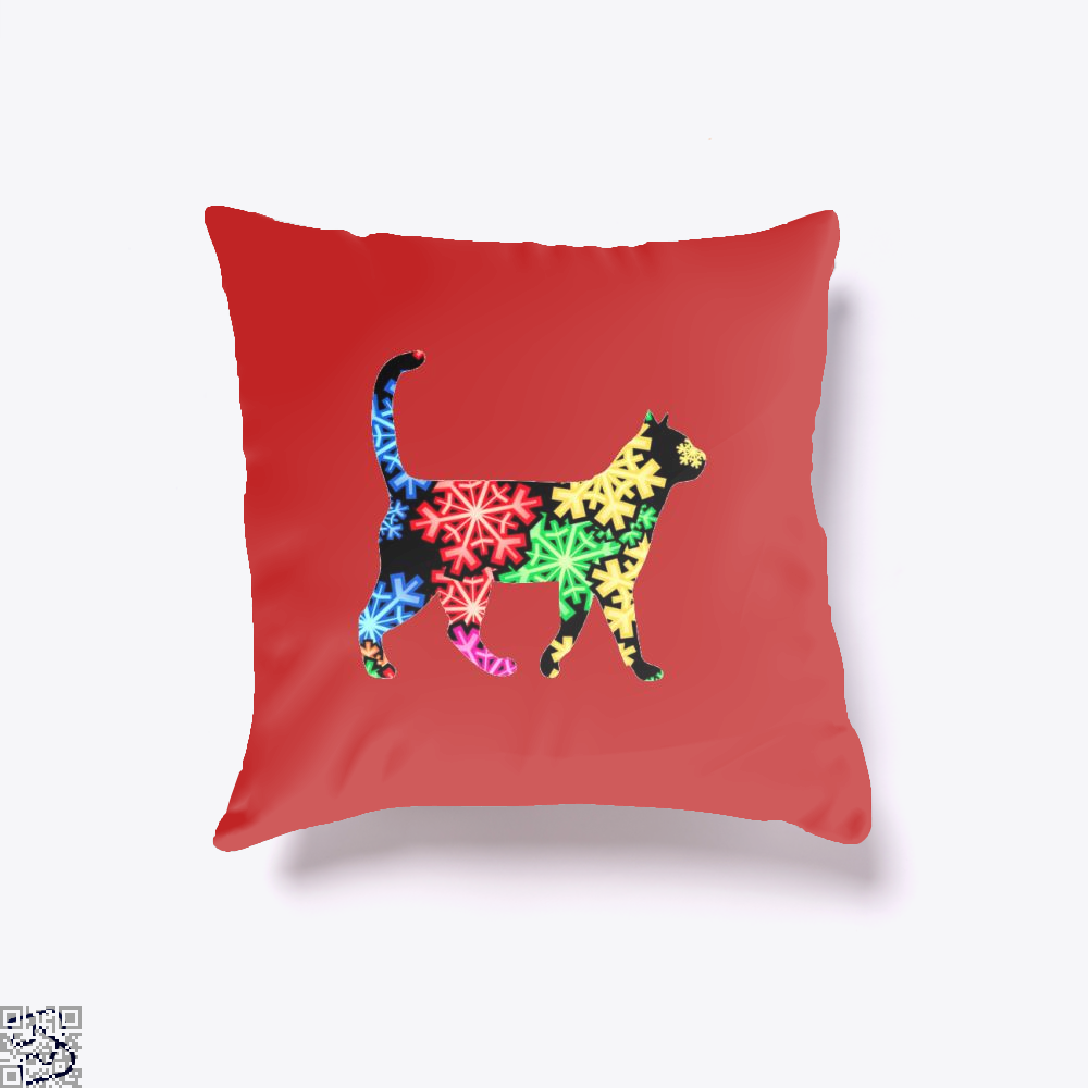 Neon Snowflake Cat Throw Pillow Cover - Red / 16 X - Productgenjpg