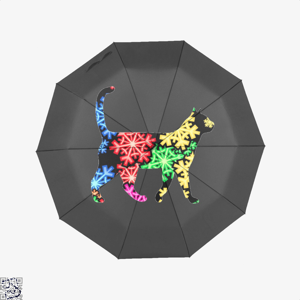 Neon Snowflake Cat Umbrella - Black - Productgenjpg
