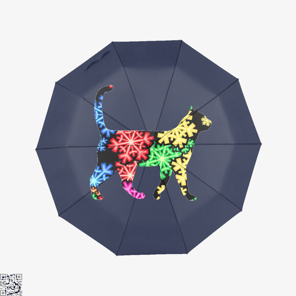 Neon Snowflake Cat Umbrella - Blue - Productgenjpg