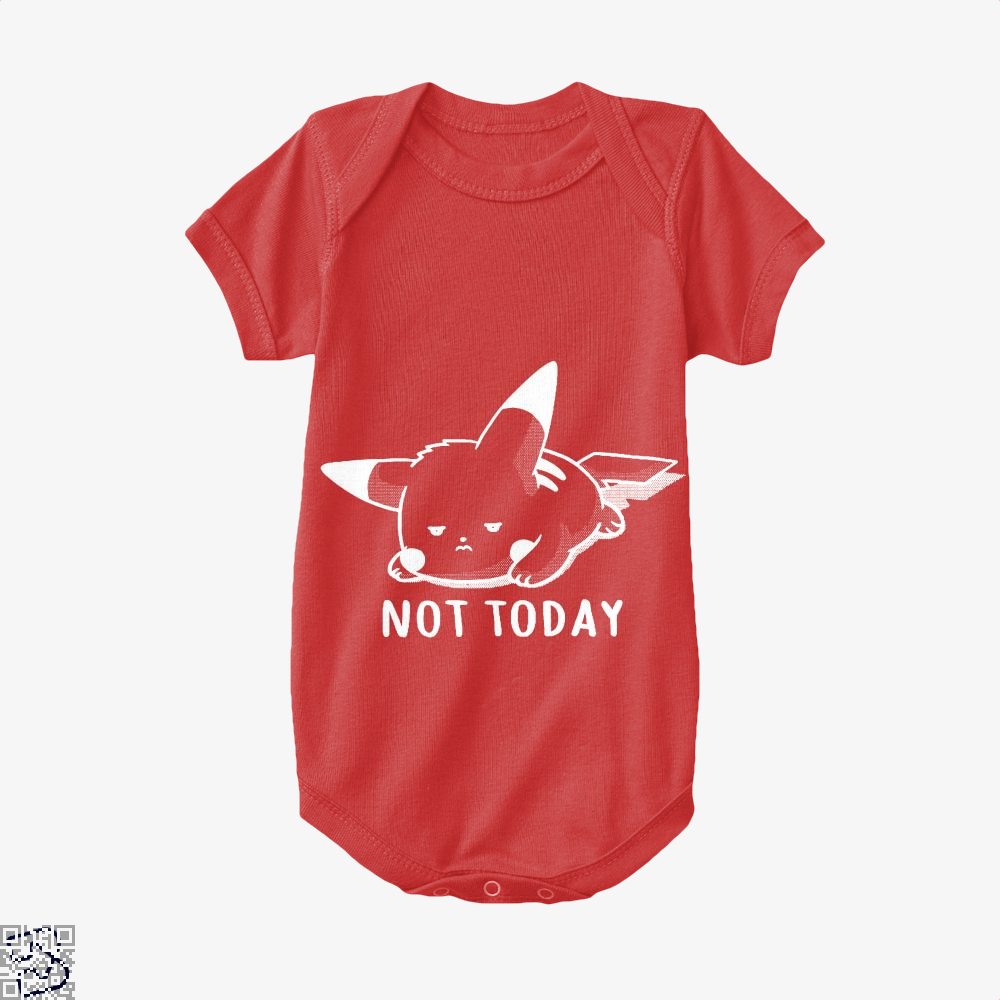 Not Today Pokemon Baby Onesie - Red / 0-3 Months - Productgenapi