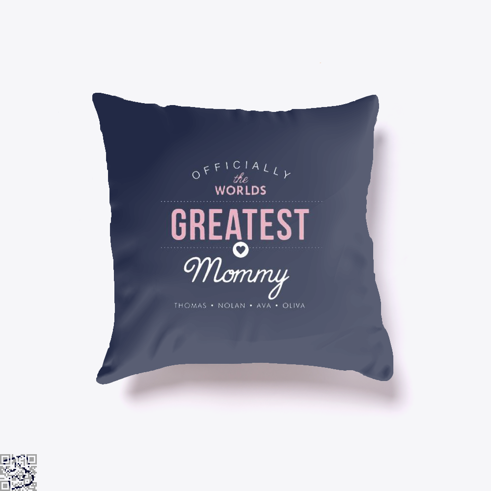 Officially The Worlds Greatest Mommy Mothers Day Throw Pillow Cover - Blue / 16 X - Productgenjpg