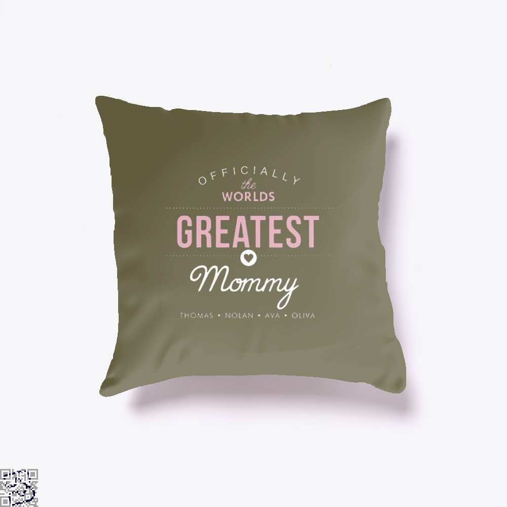 Officially The Worlds Greatest Mommy Mothers Day Throw Pillow Cover - Brown / 16 X - Productgenjpg